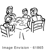#61865 Clipart Of A Family Eating Supper At A Table In Black And White - Royalty Free Vector Illustration by JVPD