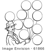 #61866 Clipart Of A Circus Man With Balloons In Black And White - Royalty Free Vector Illustration by JVPD