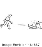 #61867 Clipart Of A Retro Boy Bowling In Black And White - Royalty Free Vector Illustration