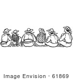 #61869 Clipart Of A Rear View Of Cowboys Sitting In Black And White - Royalty Free Vector Illustration