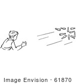 #61870 Clipart Of A Retro Boy Bowling In Black And White - Royalty Free Vector Illustration