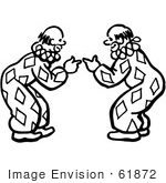 #61872 Clipart Of Clowns Bending Over And Pointing At Each Other In Black And White - Royalty Free Vector Illustration