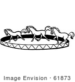 #61873 Clipart Of A Horse Circus Show In Black And White - Royalty Free Vector Illustration