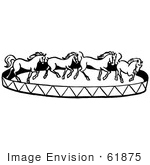 #61875 Clipart Of A Horse Circus Show In Black And White - Royalty Free Vector Illustration