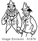 #61876 Clipart Of Clowns Laughing In Black And White - Royalty Free Vector Illustration