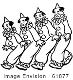 #61877 Clipart Of Clowns Walking Or Dancing In Black And White - Royalty Free Vector Illustration