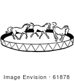 #61878 Clipart Of A Horse Circus Show In Black And White - Royalty Free Vector Illustration