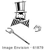 #61879 Clipart Of A Happy Retro Boy With A Mustache And Magic Wand In Black And White - Royalty Free Vector Illustration