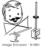 #61881 Clipart Of A Happy Retro Boy Performing A Rising Ring Magic Trick In Black And White - Royalty Free Vector Illustration