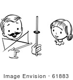 #61883 Clipart Of A Girl Watching A Boy Perform A Rising Ring Magic Trick In Black And White - Royalty Free Vector Illustration