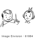 #61884 Clipart Of A Girl Watching A Boy Perform A Magic Dial Magic Trick In Black And White - Royalty Free Vector Illustration