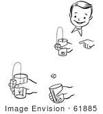 #61885 Clipart Of A Happy Retro Boy Performing Steps Of A Jumping Cubes Magic Trick In Black And White - Royalty Free Vector Illustration