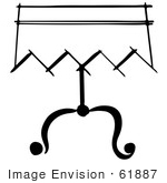 #61887 Clipart Of A Magician Table In Black And White - Royalty Free Vector Illustration