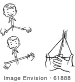 #61888 Clipart Of A Happy Retro Boy Performing Steps Of A Buttonhole Roll Magic Trick In Black And White - Royalty Free Vector Illustration