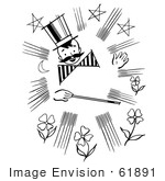 #61891 Clipart Of A Happy Retro Magician Boy With A Mustache And Wand In Black And White - Royalty Free Vector Illustration