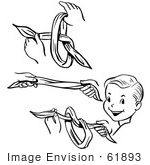 #61893 Clipart Of Steps Of A Retro Boy Performing A Vanishing Knot Magic Trick In Black And White - Royalty Free Vector Illustration
