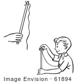 #61894 Clipart Of A Happy Retro Boy Magician Perfoming A Rising Ring Trick Black And White - Royalty Free Vector Illustration