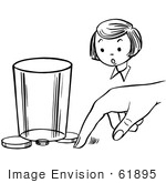 #61895 Clipart Of A Girl Watching A Boy Perform A Moving Coin Magic Trick In Black And White - Royalty Free Vector Illustration