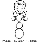 #61896 Clipart Of A Happy Retro Boy Performing A Vanishing Loop Magic Trick In Black And White - Royalty Free Vector Illustration