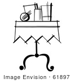 #61897 Clipart Of Items On A Magician Table In Black And White - Royalty Free Vector Illustration