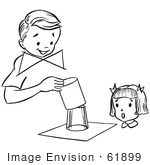 #61899 Clipart Of A Girl Watching A Boy Perform A Magic Glass Magic Trick In Black And White - Royalty Free Vector Illustration