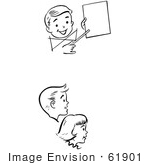 #61901 Clipart Of Retro Children Watching A Birthday Magic Trick In Black And White - Royalty Free Vector Illustration