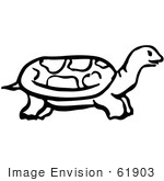 #61903 Clipart Of A Tortoise In Profile - Royalty Free Vector Illustration
