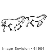 #61904 Clipart Of Two Trotting Horses In Black And White - Royalty Free Vector Illustration