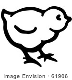 #61906 Clipart Of A Cute Baby Chick In Black And White - Royalty Free Vector Illustration
