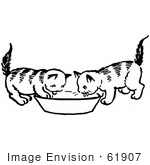 #61907 Clipart Of Two Kittens Drinking From A Saucer In Black And White - Royalty Free Vector Illustration