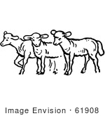 #61908 Clipart Of A Group Of Sheep In Black And White - Royalty Free Vector Illustration