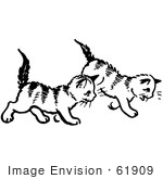 #61909 Clipart Of Two Kittens Walking In Black And White - Royalty Free Vector Illustration