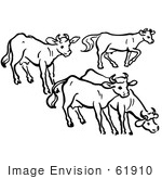 #61910 Clipart Of A Group Of Cows In Black And White - Royalty Free Vector Illustration
