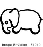 #61912 Clipart Of A Baby Elephant In Profile In Black And White - Royalty Free Vector Illustration