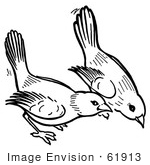 #61913 Clipart Of Birds Pecking The Ground In Black And White - Royalty Free Vector Illustration