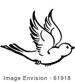 #61918 Clipart Of A Flying Bird In Black And White - Royalty Free Vector Illustration