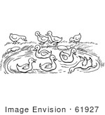 #61927 Clipart Of A Pond With Ducks In Black And White - Royalty Free Vector Illustration
