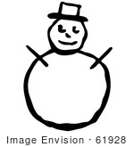 #61928 Clipart Of A Snowman With A Top Hat And Stick Arms In Black And White - Royalty Free Vector Illustration