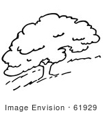 #61929 Clipart Of A Hillside Tree In Black And White - Royalty Free Vector Illustration