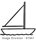 #61941 Clipart Of A Sailboat In Black And White - Royalty Free Vector Illustration