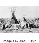 #6197 Shoshoni Indians With Tepees