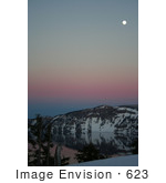 #623 Photograph Of Crater Lake At Dusk Full Moon