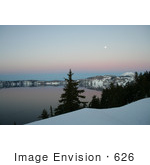 #626 Image Of Crater Lake At Dusk With A Full Moon