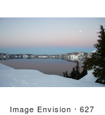 #627 Photo Of A Full Moon Over Crater Lake At Dusk