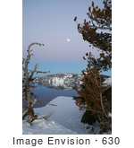 #630 Photograph of Trees and a Full Moon at Crater Lake by Jamie Voetsch