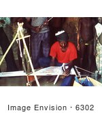 #6302 Picture Of A Villagers Watching A Motehun Sierra Leone Weaver Practicing His Craft