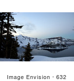 #632 Photo Of Evergreen Trees Wizard Island Crater Lake