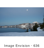 #636 Photo Of A Full Moon Over Crater Lake Dusk