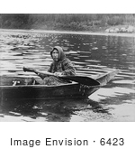 #6423 Photograph Of A Tlingit Woman In A Boat Hoonah Alaska