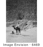 #6469 Men And Camel Near The Entrance To The Great Pyramid